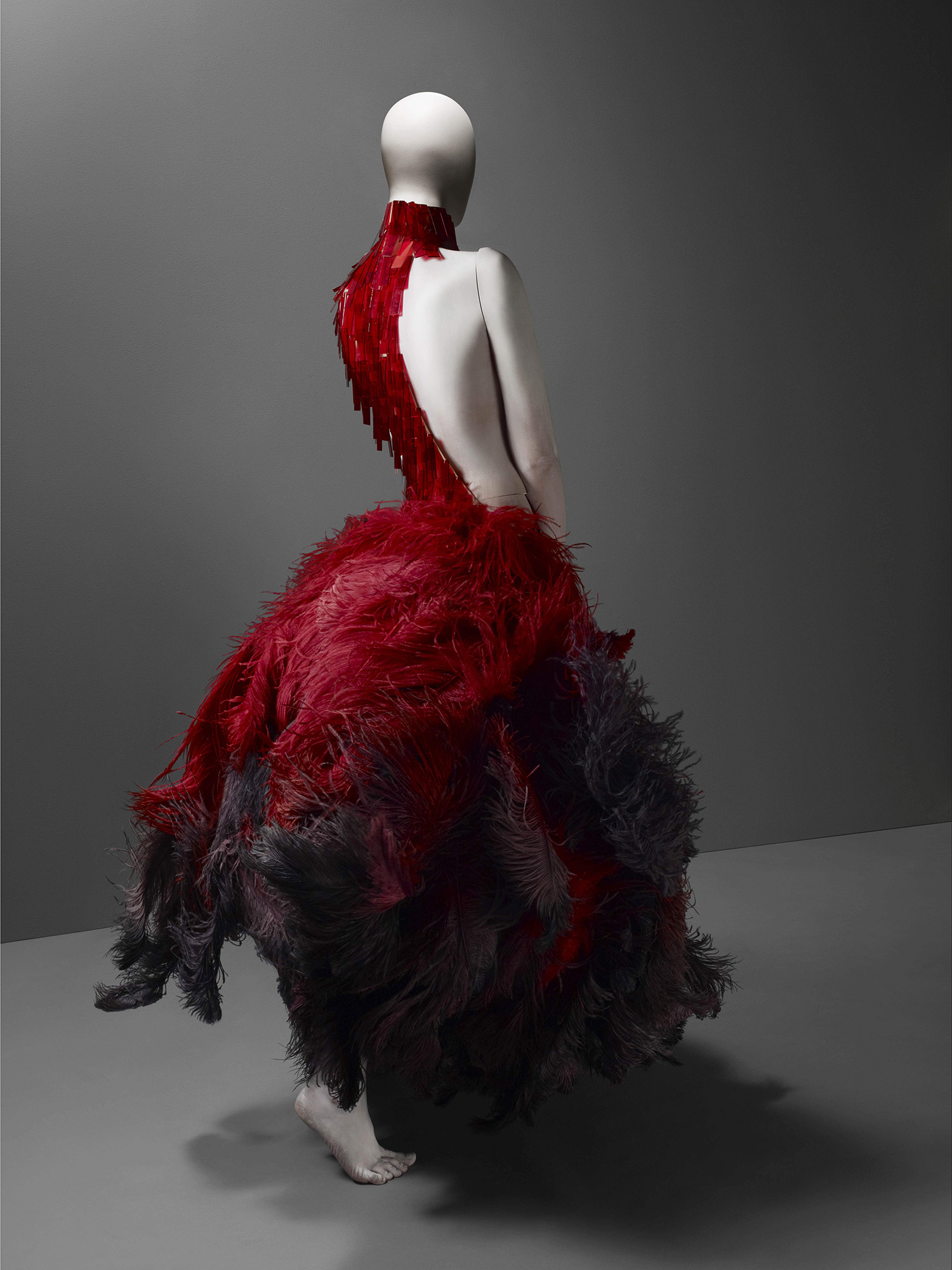 VOSS, spring/summer 2001 Red and black ostrich feathers and glass medical slides painted red