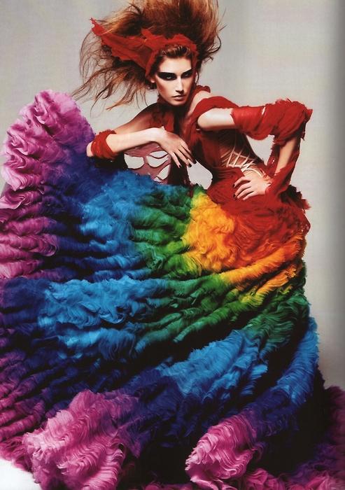 Alexander McQueen Rainbow Shipwrecked Dress Spring 2003