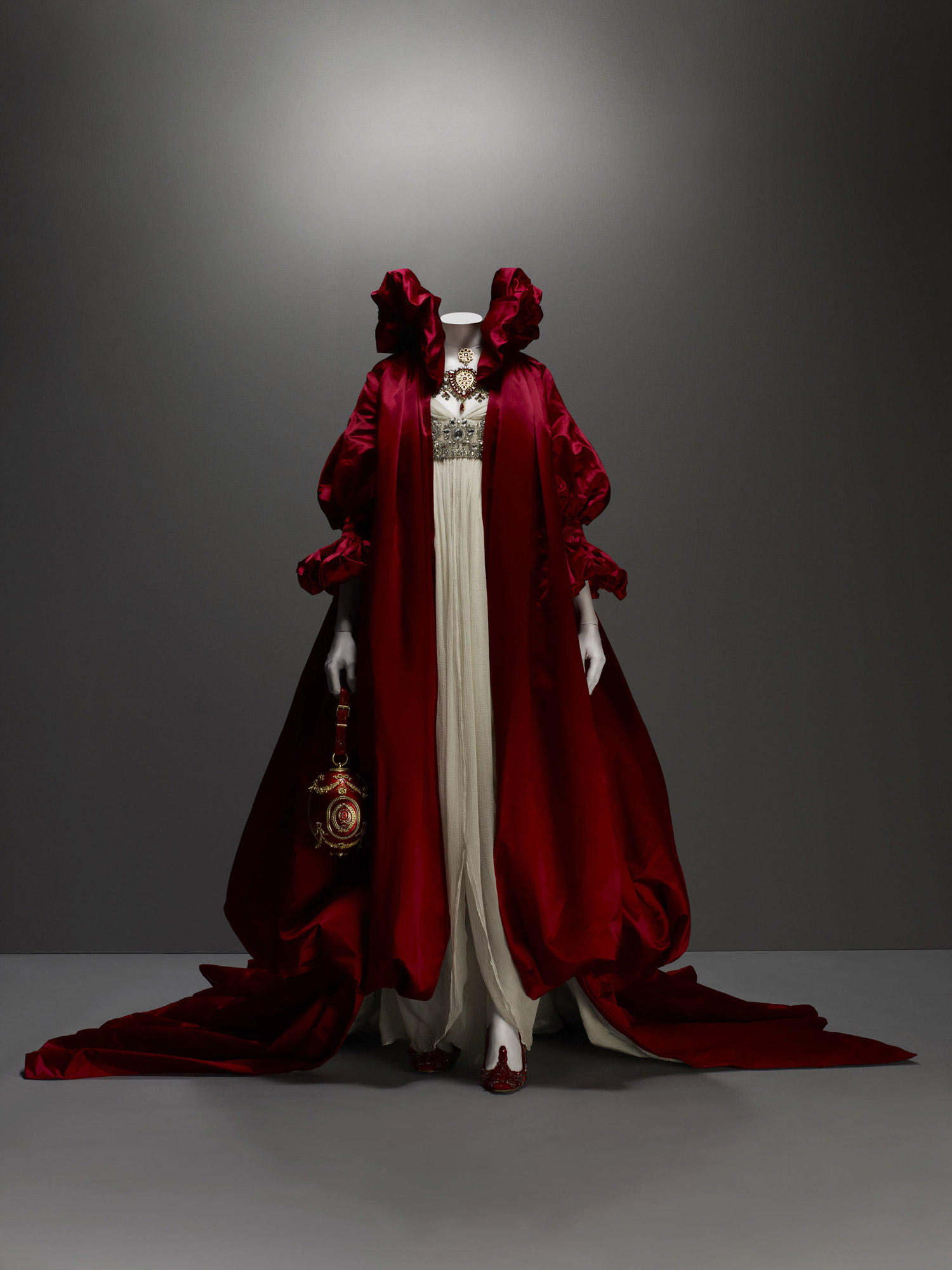 The Girl Who Lived in the Tree, autumn/winter 2008–9 Coat of red silk satin; dress of ivory silk chiffon embroidered with crystal beads